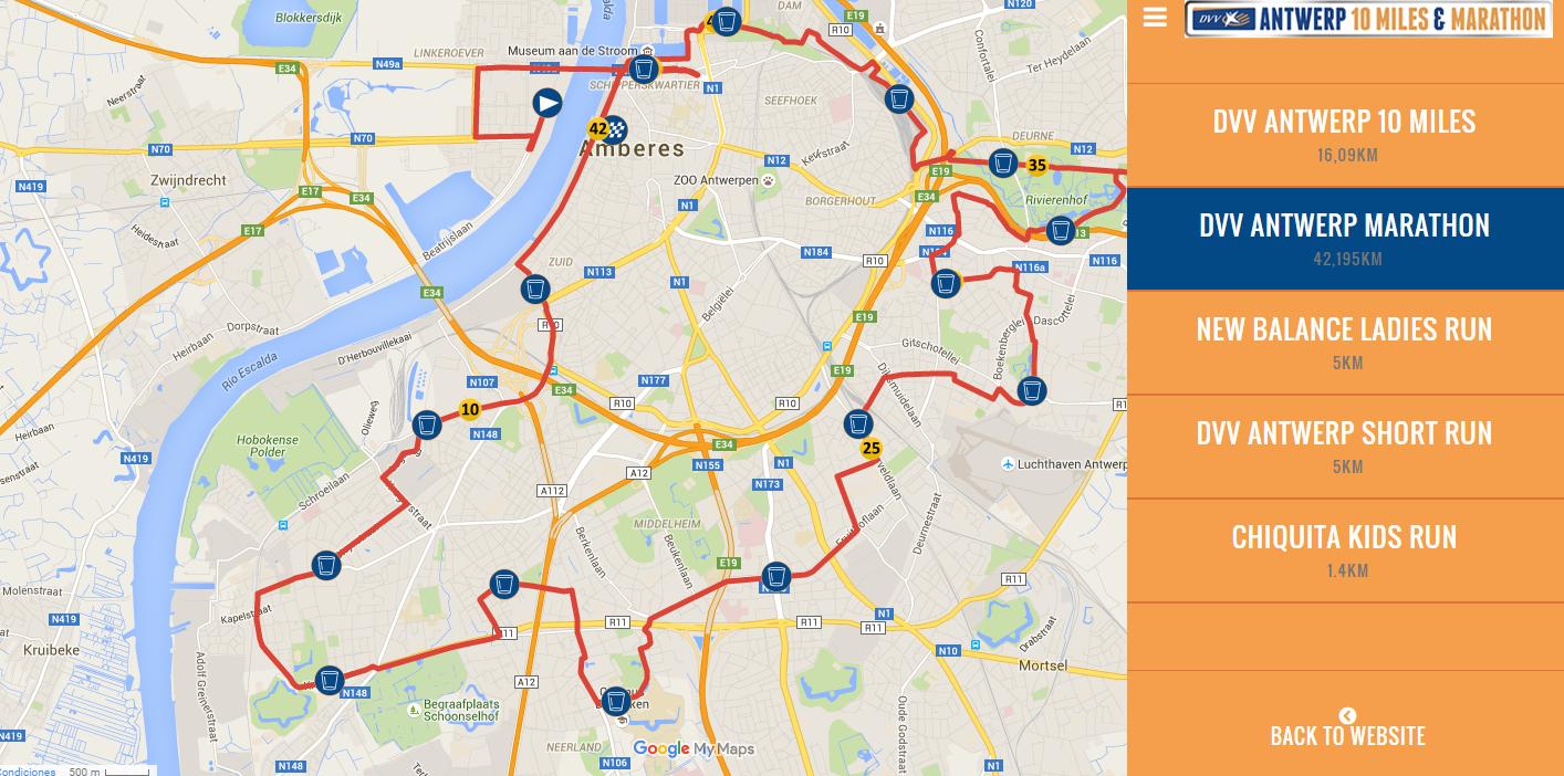 Recorrido Maratón DVV Antwerp DVV Antwerp 10 Miles & Marathon - Sin t  tulo - DVV Antwerp 10 Miles & Marathon