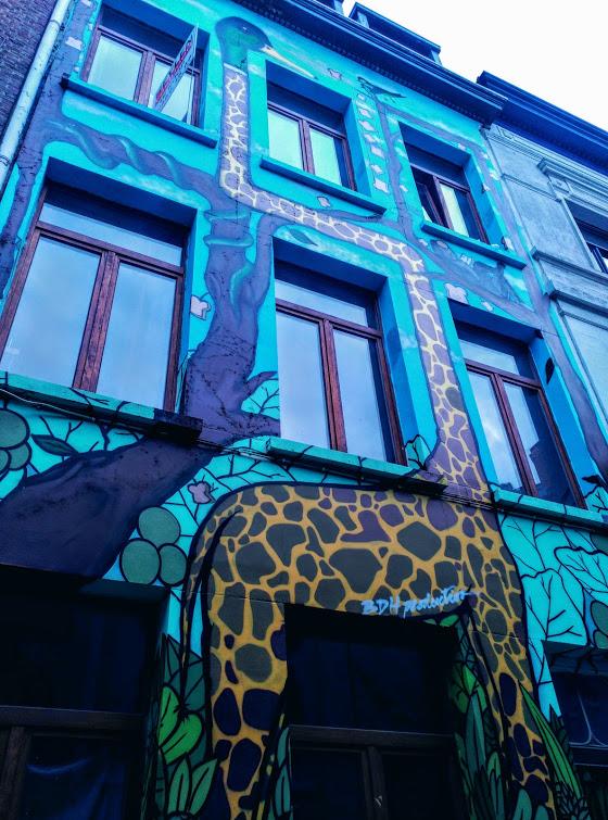 girafa graffiti Amberes callejera - girafa graffiti - Amberes callejera