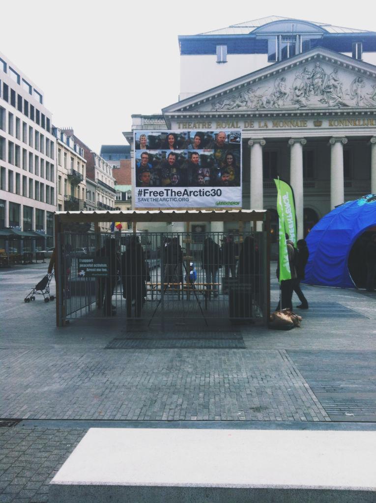 Protestas en la plaza de la Monnaie