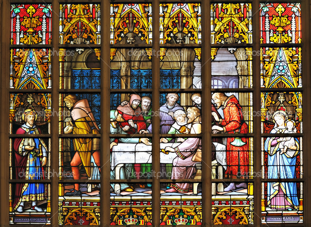 BRUSSELS, BELGIUM-NOVEMBER 22: Scene with medieval story about saint Leopold on stained glass window of St. Michael and St. Gudula cathedral on November 22, 2012 in Brussels.