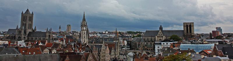 Panorámica de las vistas de Gante desde el castillo de Gravensteen