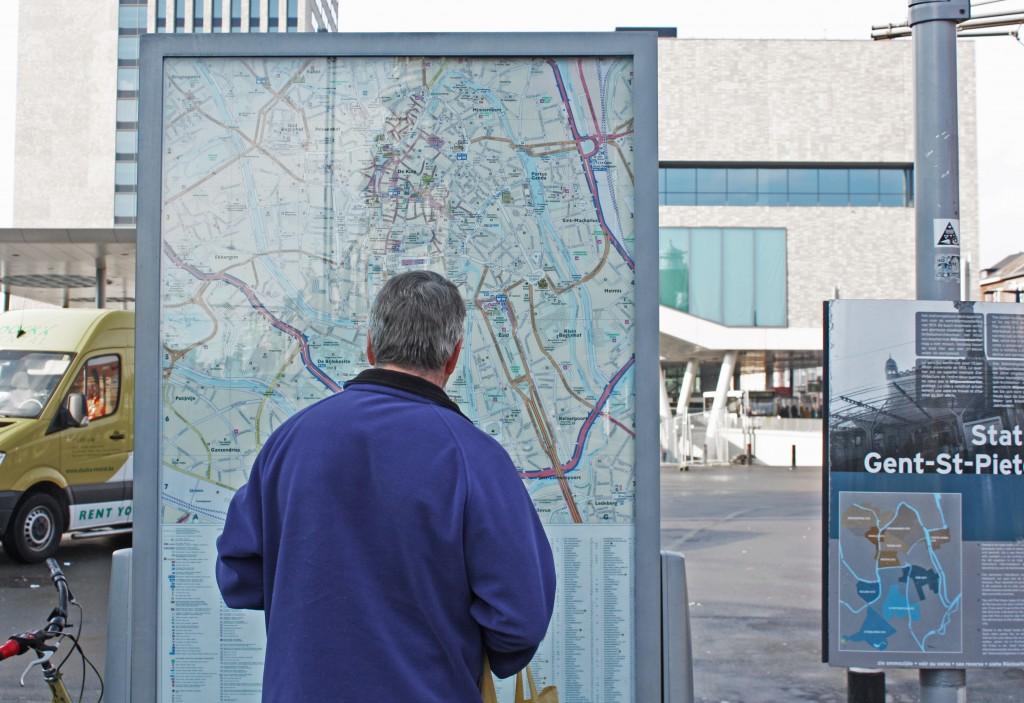 El mapa de Gante que encontraréis justo al salir de la estación de Sint-Pieters